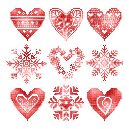 니트 패턴, 뜨개질, 패치 워크, 뜨개질 패턴 패치 워크, 뜨개질 계획 사각형 뜨개질. 새해 눈송이 모티브로 짜여진 패치 워크 세트. 크리스마스 배경입니다.