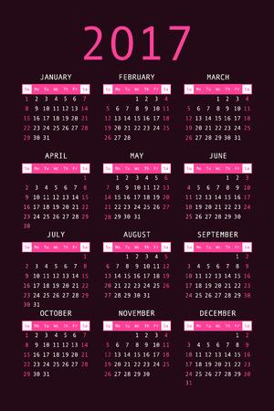 orientation: 2017 pocket calendar. Template calendar grid. Vertical orientation of days of week. Vector illustration.