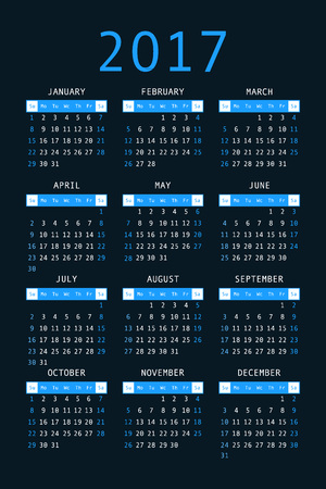 orientation: 2017 pocket calendar. Template calendar grid. Vertical orientation of days of week. Vector illustration.