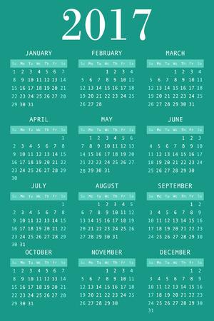greeen: calendar for 2017 on greeen background vertical