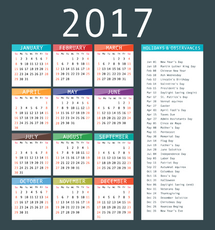 Calendar Template For  Calendar And Holiday Dates  Vector