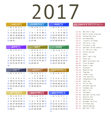 Calendar template for 2017. Calendar and holiday dates 2017 vector
