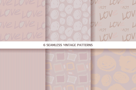 conveniently: Set of vintage seamless patterns in pastel tones. Vector illustration. All objects are conveniently grouped and are easily editable.