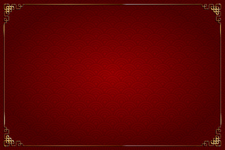 Vector red background with abstract pattern, chinese style. And gold decoration