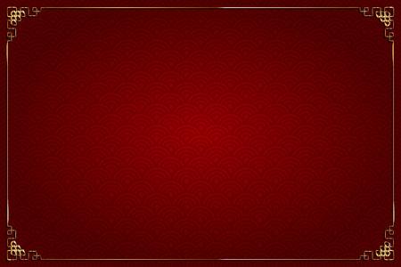 Vector sfondo rosso con disegno astratto, stile cinese. E decorazione in oro Archivio Fotografico - 67296783