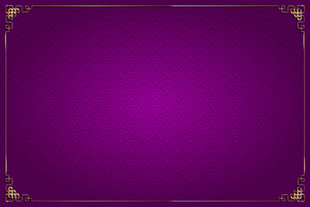 Vector purple background with abstract pattern chinese style and gold decoration