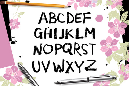 Calligraphic vector script font. handwritten brush style modern