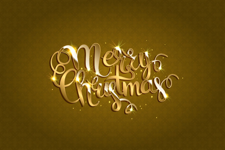 Merry Christmas Vector Text . Xmas Greeting Card with Lettering on the Gold Glitter Background. Gold Sparkles on white Background. Illustration