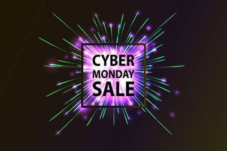 Cyber Monday Sale label. Promotional banner template with lettering composition and light rays. cyber Monday discount fireworks,  illustration