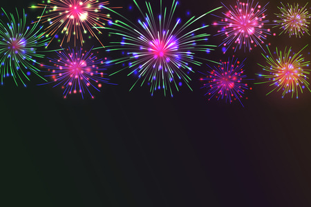 Brightly Colorful Fireworks on twilight background. Vector illustration for your graphic design