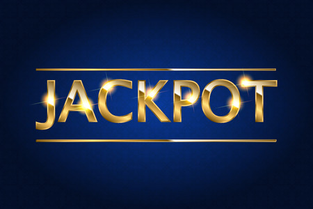Jackpot retro with glowing lamps. illustration for winners of poker, cards, roulette and lottery.