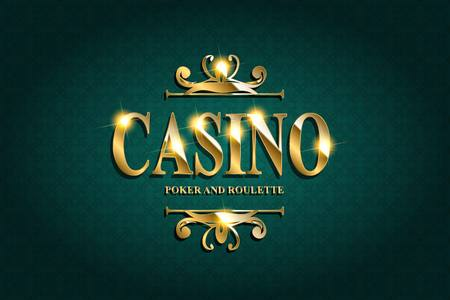 Casino Poster Background or with Falling Golden Money Coins. Template. Casino . Casino Games Gambling Template background. Vettoriali