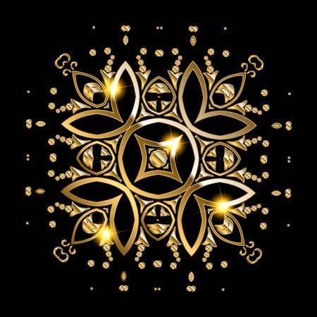 wallpaper copper gold golden: Gold mandala on black background. Ethnic vintage pattern. Vector illustration Illustration