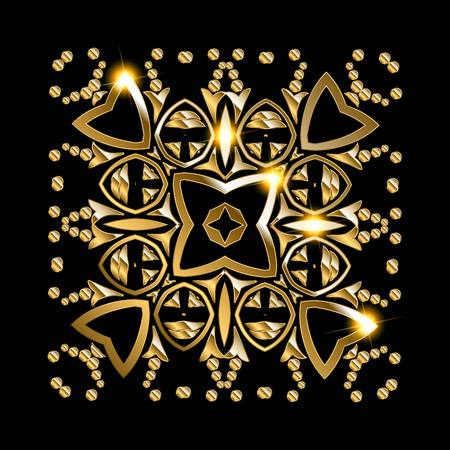 tantra: Gold mandala on black background. Ethnic vintage pattern. Vector illustration Illustration