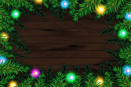 Frame of detailed Christmas tree branches on isolated background, vector illustration
