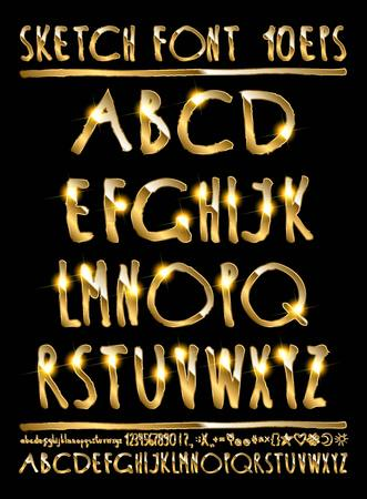 majuscule: Vector illustration volumetric gold letters on a black background. English alphabet with numbers. Large and small letters. Illustration