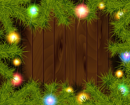 Frame of detailed Christmas tree branches on isolated background, illustration