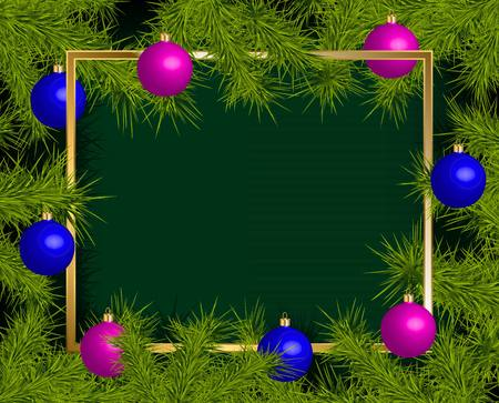 Background with card and Christmas balls frame, vector illustration