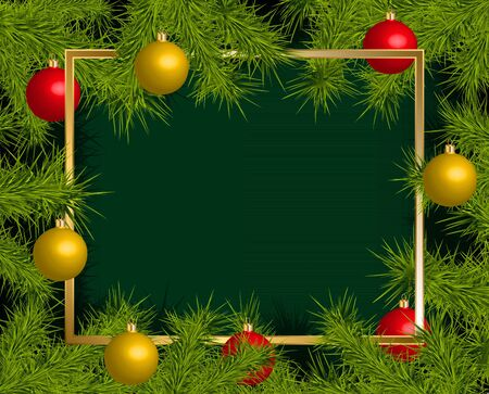 trumpery: Background with card and Christmas balls frame, vector illustration