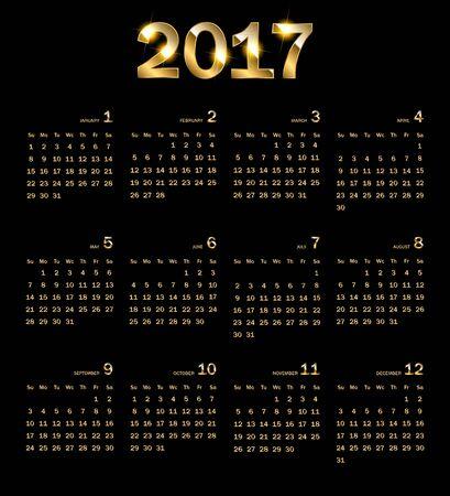 Calendar 2017. Golden abstract background Vector illustration