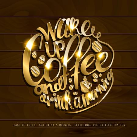 Coffe and work lettering.Job motivation hand-drawn phrase. Vector illustration for banners, web, print and posters. Illustration