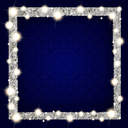 square silver frame with lights on a dark background. Vector illustration Stock Illustratie