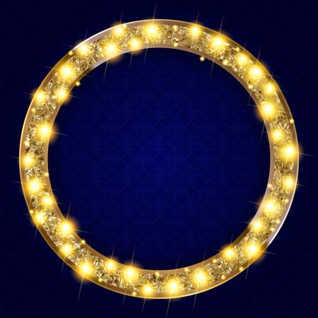 gilt: round gold frame with lights on a dark background. Vectoe illustration