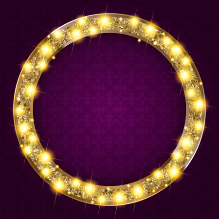 round gold frame with lights on a dark background. Vectoe illustration