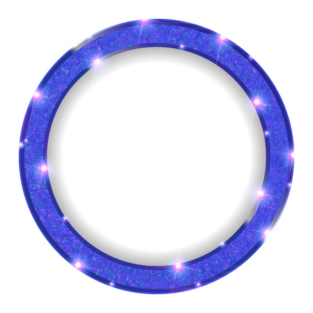 round blue frame with lights on a light background. Vector illustration Illustration