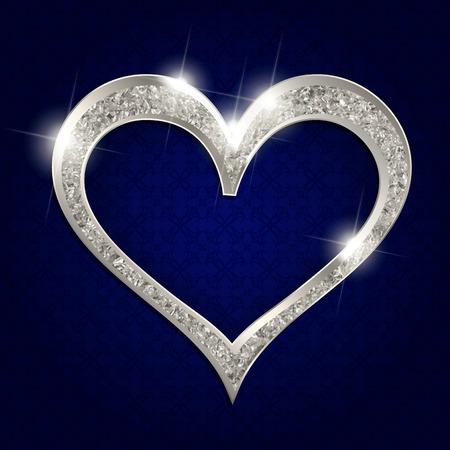 silver frame: silver frame heart on a dark background. Vector illustration