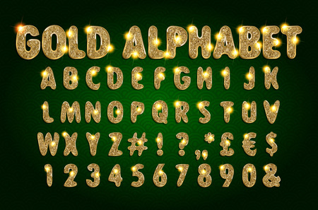 Golden Beveled Font. Vector Alphabet. Gold effect letters, numbers and punctuation marks on a dark background. Typeset for your headlines, posters etc. Illustration