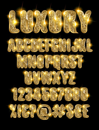 luxury gold alphabet and numbers on a dark background. Vector illustration