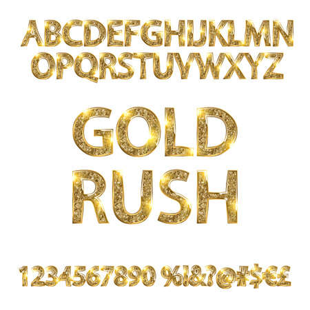 gold rush: gold rush. gold alphabets and numbers on white background. Vector illustration Illustration