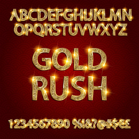 gold rush: gold rush. gold alphabets and numbers on dark background. Vector illustration Illustration