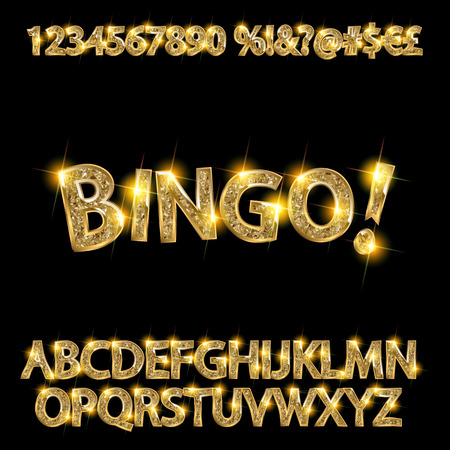 Bingo. Golden glowing alphabet and numbers on a dark background. Vector illustration for your graphic design. 向量圖像