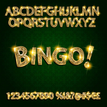 nighttime: Bingo. Golden glowing alphabet and numbers on a dark background. Vector illustration for your graphic design. Illustration