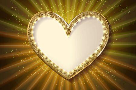 Frame cinema heart. Gold version. Vector illlustration