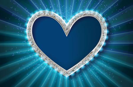 Frame cinema heart. Blue version. Vector illlustration