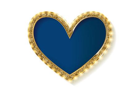 Frame cinema heart. Blue version. Isolated on white background. Vector illlustration