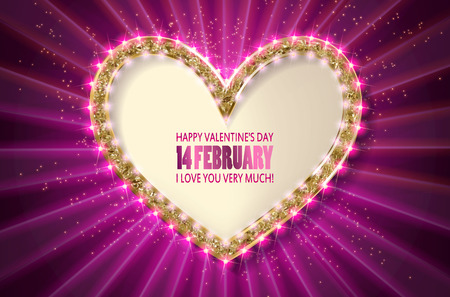 Heart frame. Retro light banner.Valentine s card. I love you very much. Pink version. Vector illustration eps 10.
