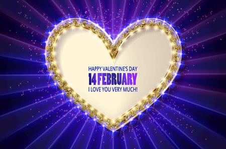 Heart frame. Retro light banner.Valentine s card. I love you very much. Blue verdion. Vector illustration eps 10.