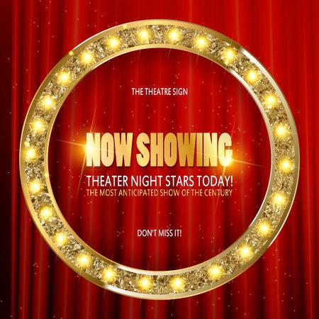 Cerchio del segno del teatro. Insegna al neon del cinema retro brillantemente d'ardore. Archivio Fotografico - 70964348