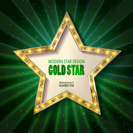 Retro star template. Frame cinema Gold star. Vector illustration Vettoriali