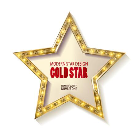 Retro stermalplaatje. Frame cinema Gouden ster. Witte achtergrond. Vector illustratie