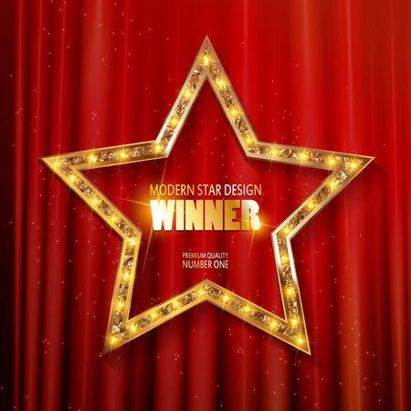beautiful shiny golden winner label design. On the background curtain. Vector illustration