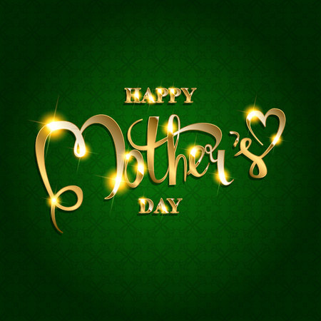 Beautiful golden lettering Happy Mother s Day on dark background.