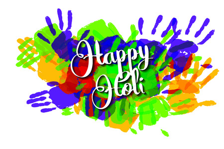Happy holi on a background of hand prints. Happy Holi background. Vector illustration. Great banner for graphic or web design