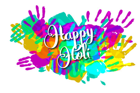pichkari: Happy holi on a background of hand prints. Happy Holi background. Vector illustration. Great banner for graphic or web design