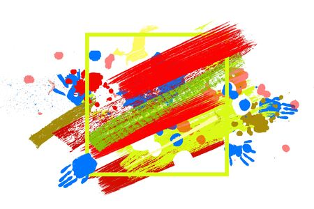 Bright color Vector Paint Splashes. Indian Holi Festival Background in square frame.