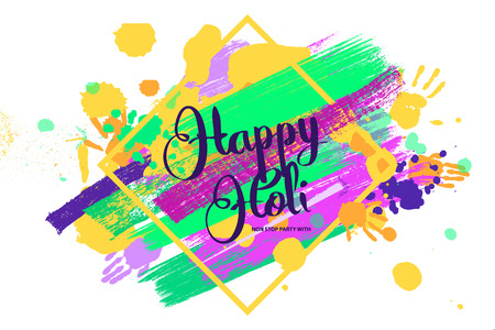 Happy holi on a background of hand prints. Happy Holi background in square frame. Vector illustration. Great banner for graphic or web design